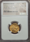 Ancients:Byzantine, Ancients: Constans II & Constantine IV (654-668). AV solidus(4.46 gm). NGC MS 5/5 - 4/5....