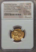Ancients:Byzantine, Ancients: Heraclius & Heraclius Constantine (613-641). AVsolidus (4.39 gm). NGC MS 4/5 - 4/5, clipped....