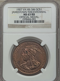 1907 Jamestown Tercentennial Official Medal, HK-346, MS63 Red and Brown NGC