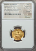 Ancients:Byzantine, Ancients: Constans II & Constantine IV (654-668). AV solidus(4.32 gm). NGC AU 5/5 - 4/5, clipped....