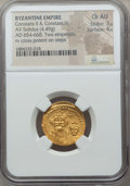 Ancients:Byzantine, Ancients: Constans II & Constantine IV (654-668). AV solidus(4.49 gm). NGC Choice AU 3/5 - 4/5....