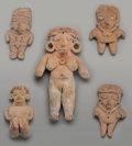 Ceramics & Porcelain:Pre-Columbian, Five Pre-Classic Miniature Figures... (Total: 5 Items)