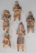 Pre-Columbian:Ceramics, Five Colima Figural Whistles... (Total: 5 Items)