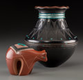American Indian Art:Pottery, Two San Ildefonso Polychrome Pottery Items . Russell Sanchez. c.2000... (Total: 2 Items)