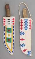 American Indian Art:Beadwork and Quillwork, Two Contemporary Plains Beaded Hide Knife Sheaths... (Total: 2Items)