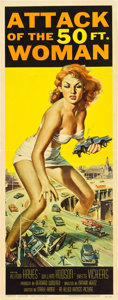 "Movie Posters:Science Fiction, Attack of the 50 Foot Woman (Allied Artists, 1958). Insert (14"" X36""). Reynold Brown Artwork.. ..."