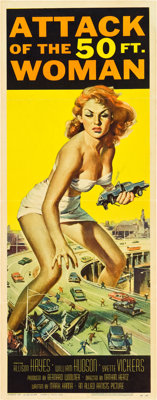 """Attack of the 50 Foot Woman (Allied Artists, 1958). Insert (14"""" X 36""""). Reynold Brown Artwork"""