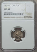 Chile, Chile: Republic 5 Centavos 1938-So MS67 NGC,...