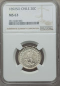 Chile, Chile: Republic 20 Centavos 1892-So MS63 NGC,...