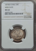 Chile, Chile: Republic 20 Centavos 1874-So MS64 NGC,...