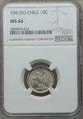 Chile, Chile: Republic 10 Centavos 1941-So MS66 NGC,...