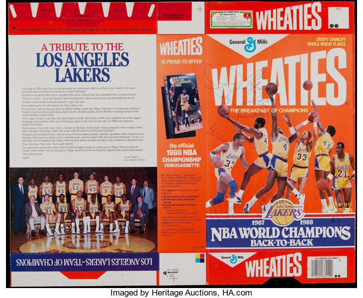 a0c659aefb4 Basketball Collectibles:Others, 1987-88 Los Angeles Lakers Multi-Signed  Wheaties Box