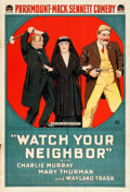 "Movie Posters:Comedy, Watch Your Neighbor (Paramount, 1918). One Sheet (28"" X 41"").. ..."