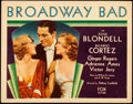 "Movie Posters:Drama, Broadway Bad (Fox, 1933). Title Lobby Card (11"" X 14"").. ..."