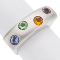 Estate Jewelry:Rings, Multi-Color Sapphire, White Gold Ring . ...