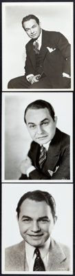 """Edward G. Robinson Lot (Warner Brothers, 1930s-1940s). Portrait Photos (3) (8"""" X 10""""). ... (Total: 3 Items)"""