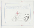 Animation Art:Production Drawing, Charlie Brown and Snoopy Show Schroeder Title Layout Drawingand Snoopy Production Cel Setup (Bill Melendez, 1985)....
