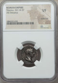 Ancients:Roman Imperial, Ancients: Tiberius (AD 14-37). AR denarius. NGC VF,scratches. ...