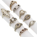 Estate Jewelry:Rings, Art Deco Diamond, Synthetic Stone, Gold Semi-Mounts . ... (Total: 9 Items)