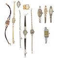 Estate Jewelry:Watches, Ladies Diamond, Synthetic Sapphire, Platinum, Gold, Metal Watchesand Watch Bracelets . ... (Total: 11 Items)