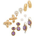 Estate Jewelry:Earrings, Amethyst, Cultured Pearl, Gold, Yellow Metal Earrings. ... (Total:6 Items)