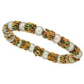 Estate Jewelry:Bracelets, Cultured Pearl, Enamel, Gold Bracelet . ...