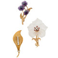 Estate Jewelry:Brooches - Pins, Diamond, Multi-Stone, Cultured Pearl, Gold Brooches. ... (Total: 3Items)