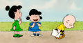 Animation Art:Production Cel, Charlie Brown and Snoopy Show Violet, Lucy, and CharlieBrown Production Cel Setup and Master Background (Bill Melende...
