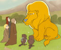 Animation Art:Production Cel, The Lion, the Witch and the Wardrobe Asian the LionProduction Cel Setup and Key Master Background (Bill Melendez,197...