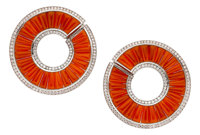 Coral, Diamond, Platinum Earrings, Cicada Proceeds Benefit PAWS Chicago