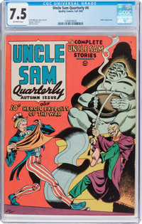 Uncle Sam Quarterly #4 (Quality, 1942) CGC VF- 7.5 Off-white pages