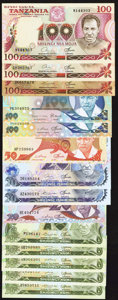 World Currency: , A Modern Entourage from Tanzania.. ... (Total: 14 notes)