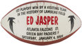Football Collectibles:Balls, 2003 Ed Jasper Painted Presentation Football - NFC Wild Card Game Packers Vs. Falcons....