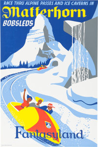 """Matterhorn Bobsled"" Disneyland Park Attraction Poster (Walt Disney, 1959)"