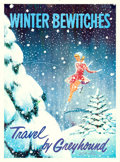 "Movie Posters:Miscellaneous, Travel by Greyhound (Greyhound, 1960s). Full-Bleed Travel Poster(28"" X 38.5"") ""Winter Bewitches,"" Rod Ruth Artwork.. ..."