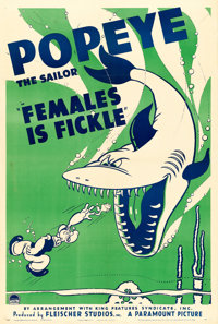 """Popeye in """"Females is Fickle"""" (Paramount, 1940). One Sheet (27"""" X 41"""")"""