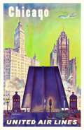 "Movie Posters:Miscellaneous, Chicago United Airlines (United Airlines, c. 1950s). Travel Poster(25"" X 39.75"").. ..."