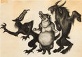"Animation Art:Concept Art, Fantasia ""Night on Bald Mountain"" Evil Spirits ConceptDrawing (Walt Disney, 1940). ..."