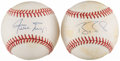 Autographs:Baseballs, Willie Mays & Barry Bonds Single Signed Baseballs Lot of 2. ...