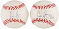 Autographs:Baseballs, Nolan Ryan Single Signed Baseballs Lot of 2. ...