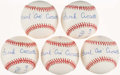 Autographs:Baseballs, Frank Crosetti Single Signed Baseball Collection (5) - WithInscriptions....