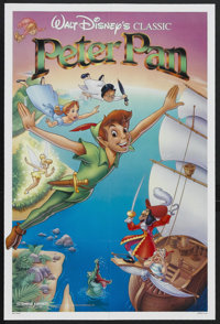"""Peter Pan (Buena Vista, R-1989). One Sheet (27"""" X 41""""). Animated Adventure. Starring the voices of Bobby Drisc..."""
