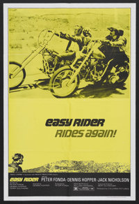 "Easy Rider (Columbia, R-1972). One Sheet (27"" X 41""). Road Drama. This one sheet is very difficult to come by..."