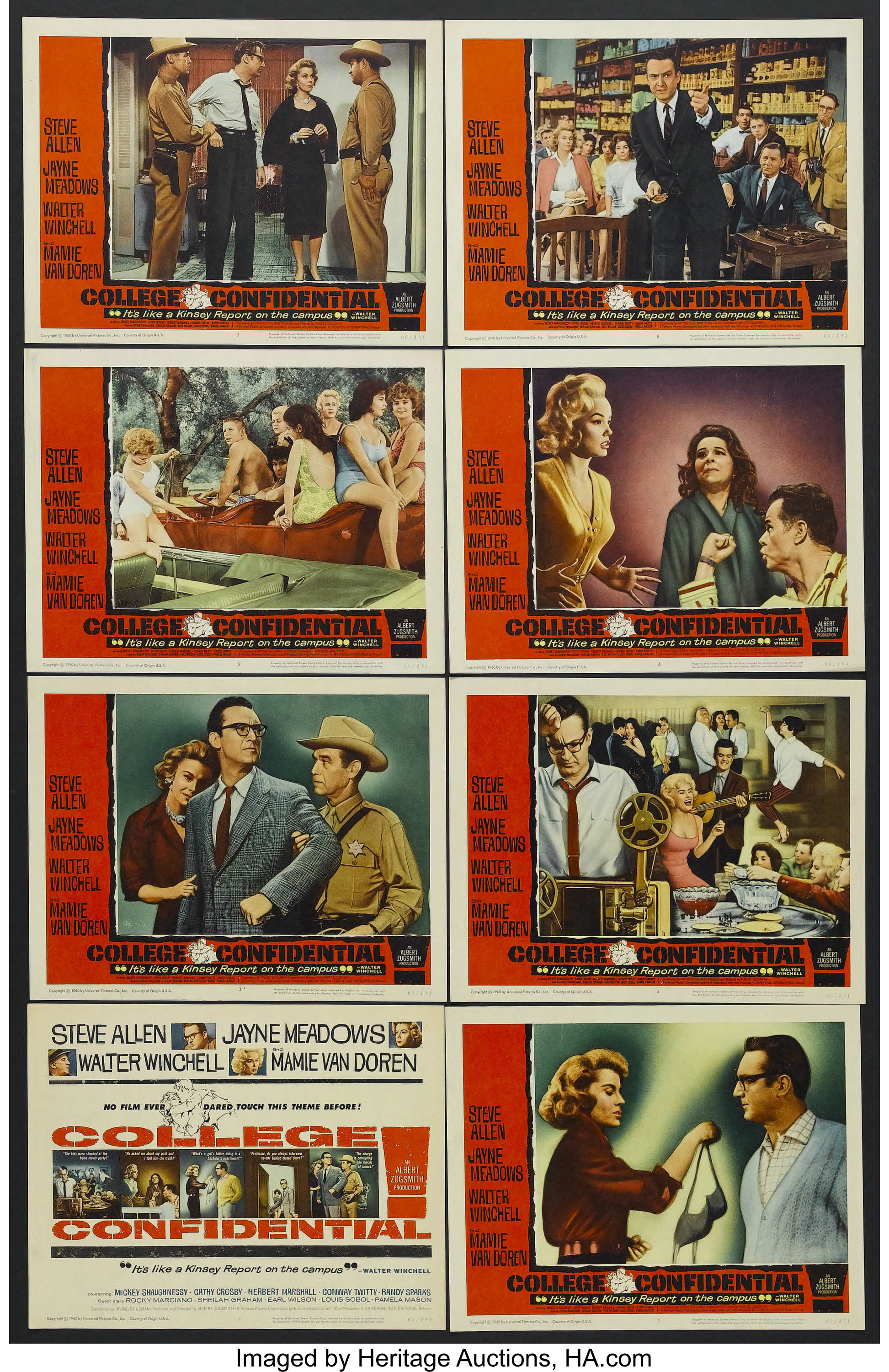 College Confidential (Universal, 1960)  Lobby Card Set of 8 (11