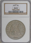 Seated Dollars: , 1845 $1 AU53 NGC. Pearl-gray and gold grace this moderately tonedand partly lustrous Seated ...
