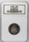 Proof Seated Quarters: , 1887 25C PR65 NGC. The reverse of this olive and blue Gem displayspretty contrast. A suitably impressed and well-preserved...