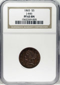 Patterns: , 1865 $5 Five Dollar, Judd-446, Pollock-518, High R.6, PR63 BrownNGC. A transitional pattern, with the obverse featuring th...