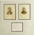 Photography:Studio Portraits, Rare Lincoln and Grant Portraits Taken April, 1865 and Limited to 175 Impressions. American Bank Note Company, no date prese...