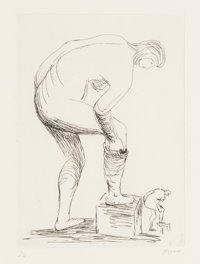 Henry Spencer Moore (1898-1986) Woman Putting on Stocking I, 1979 Etching 11-3/8 x 9 inches (28.9