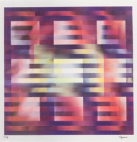 Yaacov Agam (b. 1928) Untitled - Nine Squares, circa 1980 Agamograph in colors 12 x 12-1/4 inches
